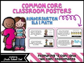 Common Core Classroom Posters: Kindergarten: ELA & Math