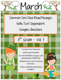 March 8th Common Core Close Read & Comprehension Passages w/ Complex Questions