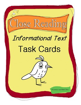 Common Core Close Reading Informational Text Task Cards