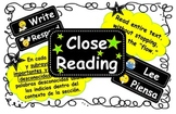 Common Core Close Reading Steps Printable Posters-English