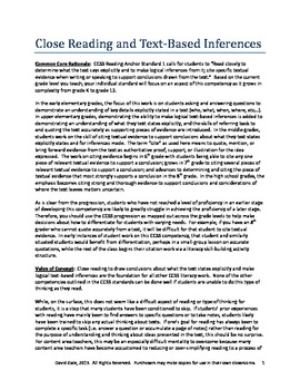 Common Core: Close Reading and Text-Based Inferences (Lesson)