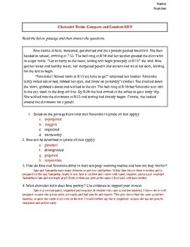 Common Core Cold Read Compare and Contrast Assessment