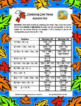 Common Core Combining Like Terms Coloring Activity