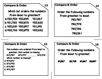 Common Core Compare & Order Numbers Task Cards