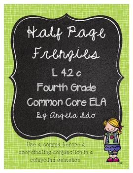"""Common Core Compound Sentences 4.2c """"Half Page Frenzies"""""""