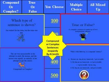 Common Core Compound/Complex Sentences TV Trivia Game