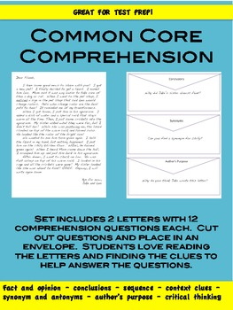 Common Core Comprehension Passage:  Great for Test Prep