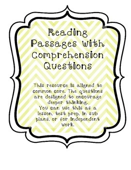 Common Core Comprehension Passages