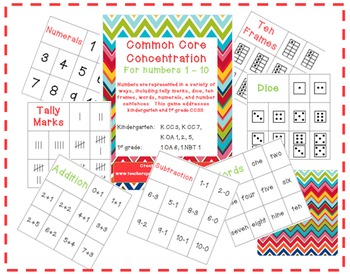 Common Core Concentration: tally marks, dice, ten frames, and more!