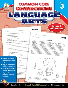 Common Core Connections Language Arts Grade 3 Skill Assessment Sample