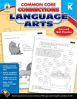 Common Core Connections Language Arts Grade K Skill Assessment Sample