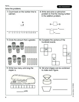 Common Core Connections Math Grade 1 Skill Assessment Sample