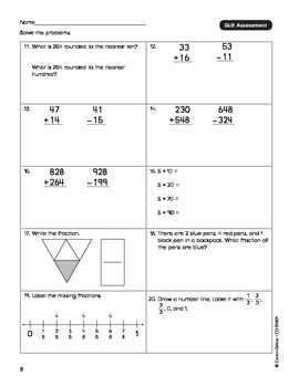 Common Core Connections Math Grade 3 Skill Assessment Sample