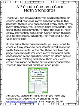 Common Core Constructed Response Free