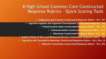 High School Common Core Constructed Response Rubrics - Quick Scoring Tools