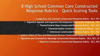 High School Common Core Constructed Response Rubrics - Qui