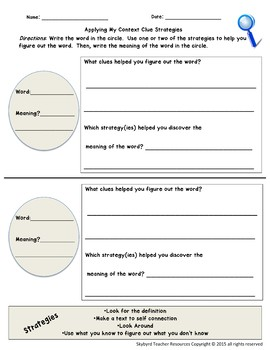 Context Clues: Reading Comprehension Strategies PowerPoint and Graphic Organizer