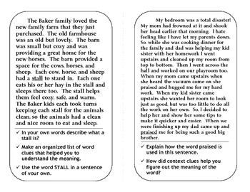 Common Core Context Clues Task Cards