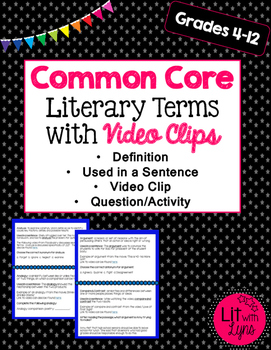 Common Core Core Literary Terms with Video Clips- Sample