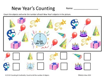 Common Core Counting and Cardinality New Year's