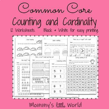 Kindergarten Common Core -Math- Counting and Cardinality