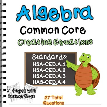 Algebra Common Core Creating Equations Standards Practice