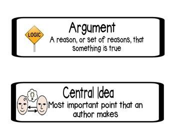 Common Core Critical Nouns Definition Cards