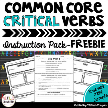 Common Core Critical Verbs Instruction Pack FREEBIE