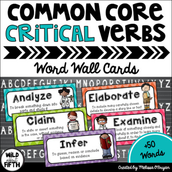 Critical Verbs of the Common Core Vocabulary Word Wall Cards