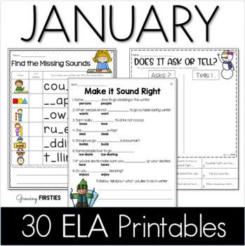 January Printables - ELA Common Core Crunch