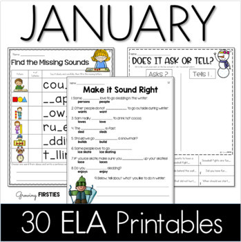 Common Core Crunch - January - ELA CCSS Printables - Growi