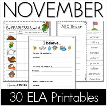 Common Core Crunch - November - ELA CCSS Printables - Growing Firsties