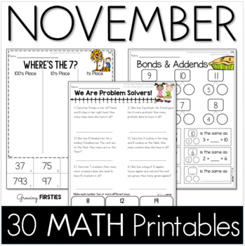 Common Core Crunch - November - MATH - CCSS Printables - Growing Firsties