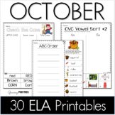 October Printables - ELA Common Core Crunch