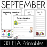 Common Core Crunch - September - ELA CCSS Printables - Growing Firsties