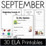 September Printables - ELA Common Core Crunch