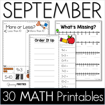 Common Core Crunch - September - MATH - CCSS Printables - Growing Firsties