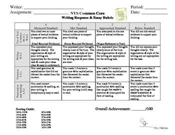 Common Core Curriculum Aligned Essay Journal Writing Grading RUBRIC