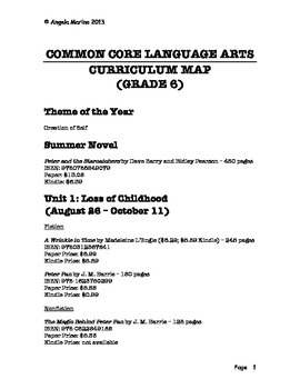 Common Core Language Arts Curriculum Map - Grade 6