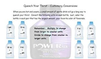 Common Core - Customary Conversion Measurements - Quench Your Thirst