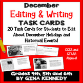 """December Themed """"Daily Editing"""" Writing Task Cards, Fun History Integration!"""
