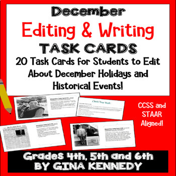 "December Themed ""Daily Editing"" Writing Task Cards, Fun History Integration!"