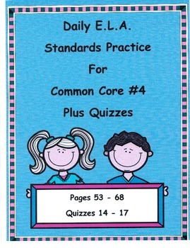 Morning Work/DOL For 3rd Grade Common Core ELA #4 Plus Quizzes
