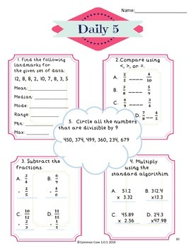Common Core Daily 5 Math Warm-up