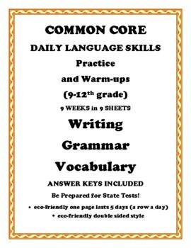 Common Core Daily Grammar Writing Vocabulary Skills Workbook 9-12 Grade