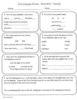 Common Core Daily Language Review ~ 2nd Grade ~ 2nd Quarter ~9 weeks