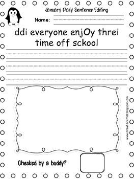 First Grade Sentence Editing: January