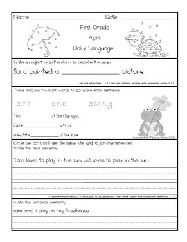 Common Core Daily Language for First Grade April