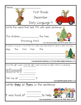 Common Core Daily Language for First Grade December