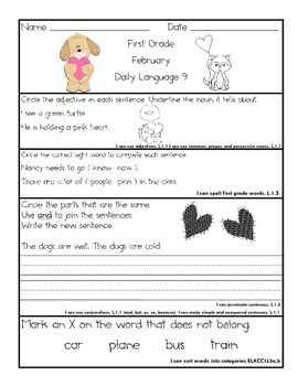 Common Core Daily Language for First Grade February